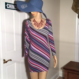 Long sleeve striped spandex dress